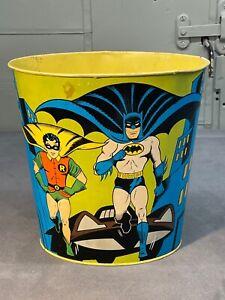 "Vintage 1966 Chein Co Batman and Robin Trash Can 9.5"" with Batman Logo"