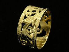 R001- GENUINE 9ct 9K SOLID Gold Botanical WIDE Filigree Band Wedding Ring size Q