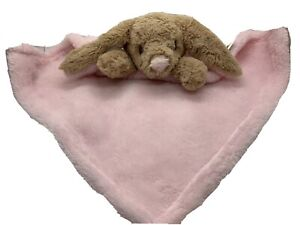 Blankets And Beyond Bunny Rabbit Brown Pink Security Baby Blanket Lovey EUC