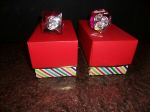 KATE SPADE Jules Point ORANGE/ Red  Stopper CRYSTAL Lenox  Red Box.Set Of 2