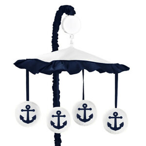 Sweet Jojo Musical Mobile For Navy And White Nautical Anchor Baby Crib Bedding