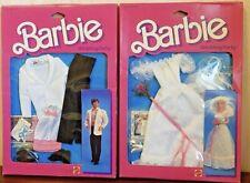 Vintage 1984 Barbie & Ken WEDDING Bride Dress & Groom Tuxedo Mattel NEW