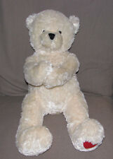 Hallmark Cream Ivory White Shaggy Teddy Bear Paws Arms Heart Foot Plush