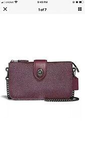 NWT COACH - Colorblock Berry Metallic Turn Lock Cross Body Bag Leather!