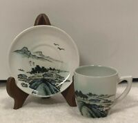 Vintage Chinese Old Town Scenic Hand Painted Porcelain Espresso/Tea Cup & Saucer