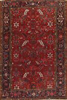 Vintage Vegetable Dye All-Over Red 7x10 Heriz Serapi Hand-knotted Area Rug Wool