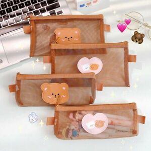 Cute Bear Brown Pencil Case Pouches Student Pencil Bag Storage Kawaii Bag