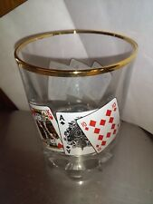 Card Poker On the Rocks Glasses Pair (2)  King- Ace Playing Cards Gold Trim