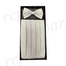 Nuovo in Box 100% Poliestere Paillettes Fascione & Set di Bowtie Bianco