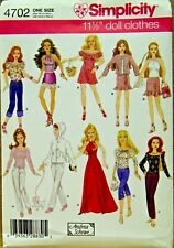 "SIMPLICITY PATTERN 4702  DOLL CLOTHES FOR 11 1/2"" FASHION DOLL  UNCUT"