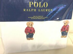 Polo Ralph Lauren Boy Teddy Bear Full Sheet Set  NWT! 100% Cotton