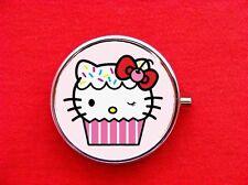 HELLO CUPCAKE KITTY CAT BAKER ROUND METAL PILL MINT BOX