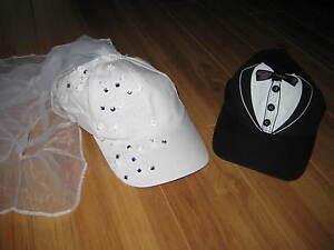 BRIDE/GROOM Baseball Cap WEDDING Hat Bridal Shower Bachelorette GIFT Veil Tux
