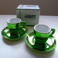 NUOVO Bialetti le tazzine verde 2 X TAZZE DA CAFFE 'expresso & Piattini OTTIMO REGALO