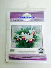 """ORCHID FLOWER Counted Cross Stitch Kit- Size 16.5"""" x 12.5"""" EV-174 -FREE SHIPPING"""
