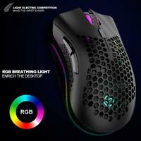 2.4Ghz Wireless Mouse 1600Dpi Adjustable USB Rechargeable Honeycomb RGB Mouse