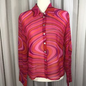 Johnny Was Size M 100% silk button down blouse multicolor wavy swirl print