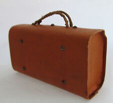 Antique Paper Mache Dresden Luggage Suitcase Brown Candy Container Ornament