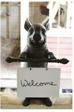 16 in. x 8 in. Cochon Whimsical Pig Design Statuary with Ceramic Message Board