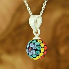"Ball Multi Color Crystal Pendant 925 Sterling Silver 16"" Cable Chain Necklace"