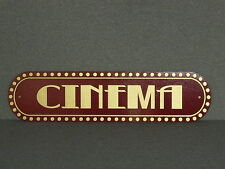 Vintage Style Red and Gold CINEMA Wood Wall Sign Movie Home Decor