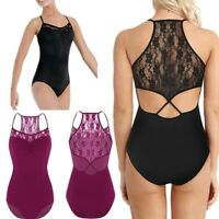Women Ballet Leotard Lace Floral One Piece Bodysuit Dance Gymnastics Costume Top