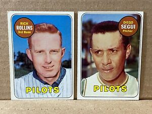 1969 Topps DIEGO SEGUI & RICH ROLLINS Lot of 2 Cards No. 511 & 451 Pilots