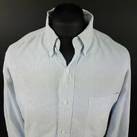 CHAPS Mens THICK Shirt Oxford LARGE Long Sleeve Blue Regular Fit Striped Cotton