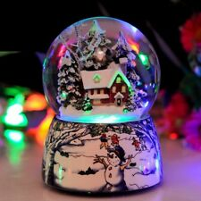 Resin Music Box Crystal Ball for Christmas Snow Globe Glass Home Desktop Decor G