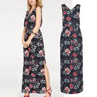 genial LANG MAXIKLEID Gr.M/L 38/40 Maxi Kleid Blumen BOHO GOA blau Sommerkleid