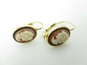 333 Gold Ohrringe Gemme Kamee Ohrstecker Art Deco Ära Vintage gold earrings