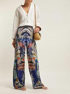 NWT Camilla Darling's Destiny Long Stretch Waist Blue Print Pant Side Split L