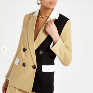 River Island Camel Double Breasted Colour Block Blazer UK 8 NEW Office Blogger