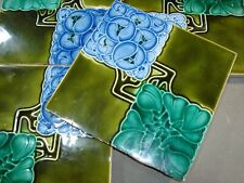 Colorful Set of 4 original period antique blue & green tiles w/faults