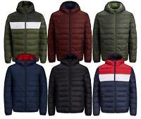 JACK & JONES Mens Quilt Puffer Jacket Lightly Padded Warm Hooded Outdoor Coat