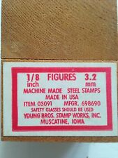 "Vintage Young Bros 1/8""Steel Stamp Set *NUMBERS* w/Wooden Box"