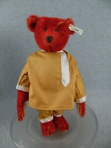 Antique reproduction Steiff Russian Red Mohair Teddy Bear ALFONZO with COA & Box
