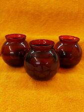 More details for 3 x vintage ruby red glass round vases