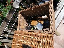 Old wicker fishing basket creel, vintage 1950s 1960s  and contents reels floats