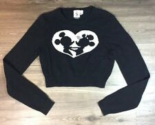 Disney x Forever 21 Crop Sweater Womens Large Black Mickey Mini A243