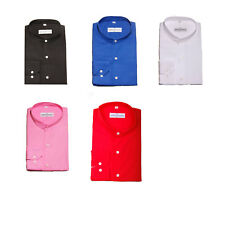 Mens Premium Formal Plain Collarless Grandad Collar Shirts Regular Fit Small-4XL