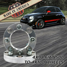 "x2 USA MADE | 4x98 to 4x100 (Fits 4 Lug Fiat 500) | Wheel Adapters / 1"" Spacers"