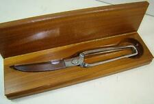 Vintage Chrome B & B Italy Spring Loaded Poultry Scissors Shears Set Wood Box