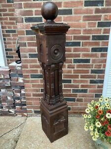 """ANTIQUE CARVED NEWEL POST 47"""" TALL ~ ARCHITECTURAL SALVAGE w/Topper 4ft.-10""""OAH"""