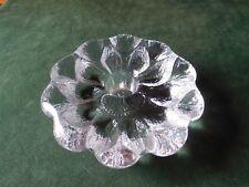 """Holmegaard Crystal Taper Candle Holder, 2 Rows Of Petals, Flower Design, 4"""" D"""