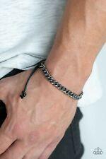 Paparazzi  Mens bracelet HURRAH gunmetal chain NEW