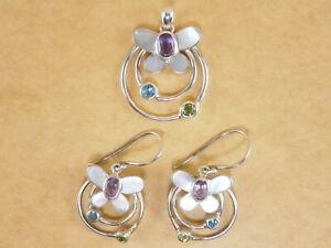 Set of 925 Sterling Silver Butterfly Pendant and Earrings Amethyst Topaz Peridot