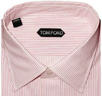 $615 NWT TOM FORD PINK WHITE PIN STRIPE SPREAD COLLAR DRESS SHIRT EU 44 17.5