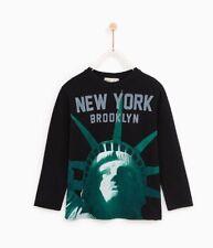 9dbb5ae17 Nuevo Zara Niños Chicos Nueva York Camiseta Mangas Largas Cuello Redondo  Negro Algodón 6