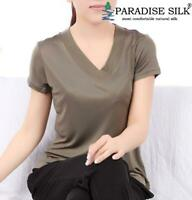 Pure Silk Knitted Women's V Neckline Short Sleeves